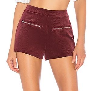 NWT By The Way Zipper Felt Maroon Shorts